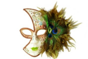 Tribal Decorated Classic Venetian Design Laser Cut Masquerade Mask, Attached w/ Vibrant Light Brown And Green Peacock Feathers