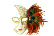 Tribal Decorated Classic Venetian Design Laser Cut Masquerade Mask, Attached w/ Vibrant Orange And Green Peacock Feathers