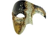 Gold Lining Musical Black Venetian Half Masquerade Mask Phantom Vintage Design