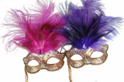 Classic Venetian Elegant Swan w/ Grand Feathers Design Laser Cut Masquerade Mask for Mardi Gras Events or Halloween - 2pc for Couples/Men/Women - Pink & Violet