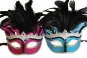 Vintage Venetian Elegant Swan w/ Grand Feathers Design Laser Cut Masquerade Mask for Mardi Gras Events or Halloween - 2pc for Couples/Men/Women - Pink & Blue