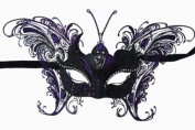 Laser Cut Venetian Majestic Butterfly Princess Design Masquerade Mask - Intricately Decorated and Detailed - Purple