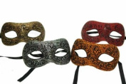 NEW Classic Vintage Venetian Design Laser Cut Masquerade Mask for Mardi Gras or Halloween - 4pc Set Red, Yellow, Grey and Light Brown