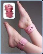 KinkLab Pink Bound Leather Ankle Cuffs