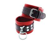 Bundle Soft Leather Wrist Restraints Red/Black and Aloe Cadabra Organic Lube Vanilla 70ml