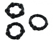 SMP Cock Rings Textured Silicone Penis Rings x3 Black