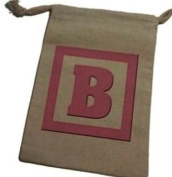 Letter B Initial Baby Girl Block Pink - Shower Muslin Cotton Gift Party Favour Bags