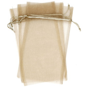 10 Designer Organza Fabric Gift Bags and Gift Pouches Party Gift Bags SET of 25cm Cream White Beige 22cm By 35cm