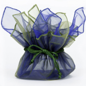 10 Designer Organza Fabric Gift Bags Pouches Party Favour Gifts Packaging Olive Blue