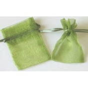 48 Organza Drawstring Pouches Gift Bags 4x5 - Moss Green