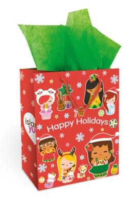 Hawaiian Christmas Gift Bag Medium Island Holiday Yumi