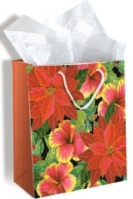 Hawaiian Medium Christmas Gift Bag Festive Hibiscus