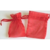 48 Organza Drawstring Pouches Gift Bags 4x5 - Red