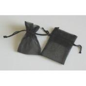 48 Organza Drawstring Pouches Gift Bags 4x5 - Black