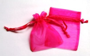 48 Organza Drawstring Pouches Gift Bags 4x5 - Hot Pink