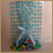 25pcs 13cm x20cm Polka Dot Blue Gift Cello Bag + Pre-tied Ribbon Bow