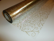 10m x 80cm Roll Gold Scroll Cellophane Wrap. Florist Quality / Bouquet / Gift...