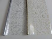 2 x 5m x 80cm Scroll Christmas Cellophane Wrap (Gold & Silver). Florist Quali...
