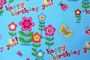 Gift Wrapping Paper - Happy Birthday Flowers