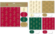 Anker 4 Sheets Of Foil Gift Wrap With Gift Tags - Christmas Traditional
