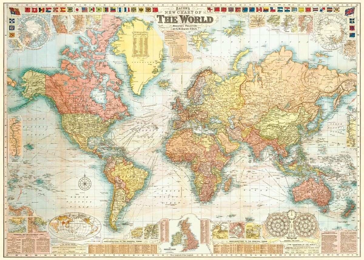 Cavallini & Co. World Map Decorative Decoupage Poster Wrapping Paper ...