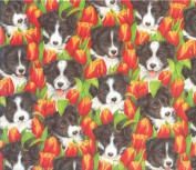 Border Collie in the Tulips Gift Wrap Paper & Gift Tags