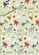 Farmyard Animals Happy Birthday Gift Wrap Paper
