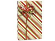 Red Lime Green CANDY STRIPE Christmas Gift Wrap Wrapping Paper - 16ft Roll