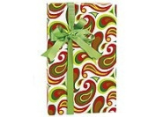 Trendy RED GREEN CHRISTMAS PAISLEY Gift Wrap Wrapping Paper - 16ft Roll