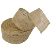 5.1cm Burlap Jute Ribbon for Party Decorations, Rustic Wedding Decor, Craft Projects - Natural