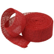 5.1cm Burlap Jute Ribbon for Party Decorations, Rustic Wedding Decor, Craft Projects - Red