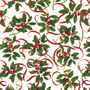 Entertaining with Caspari Continuous Gift Wrapping Paper, Holly and Ribbons, 8-Feet, 1-Roll