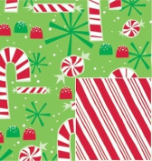 Contempo Candy Canes Reversible 60cm x 38cm Gift Wrapping Paper - Holiday Gift Wrap
