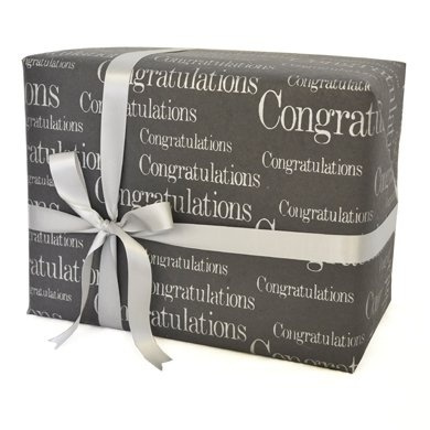 Grehom Gift Wrapping Paper (Set of 4) - Congratulations; Made of Recycled Cotton Fibres; Delivered in a tube; Beautiful Gift