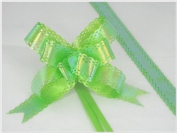 Pack of 10 Green Colour Pull String Ribbon Bows Ideas for Decorative Gift Packing Wrapping
