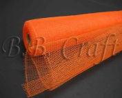 Orange Floral Mesh Wrap Solid Colour 50cm x 10 Yards