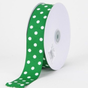Emerald with White Dots Grosgrain Ribbon Polka Dot 1cm 50 Yards