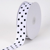 White with Black Dot Grosgrain Ribbon Polka Dot 1cm 50 Yards