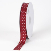 Burgundy with White Dots Grosgrain Ribbon Swiss Dot 1.6cm 50 Yards