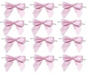 12 Pack Baby Pink Pre-tied Bows Party Favour Gift Packaging Bows
