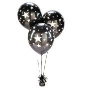 Black Sliver Stars Balloons