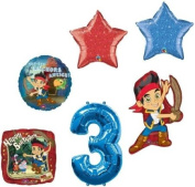 JAKE & the NEVER Land PIRATES #3 3rd Birthday Party Supplies Mylar BALLOONS Set