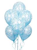 Damask Blue Latex Balloons