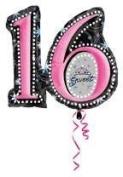 SWEET 16 TIARA 70cm Balloons BIRTHDAY PINK / BLACK SPARKLES GLAM & FREE RIBBON