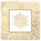 Shimmering Snowflake Metallic Square Banquet Plates