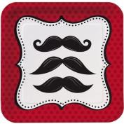 Moustache Madness 18cm Dessert Plates, Square