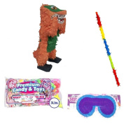 Orange Dino Pinata Party Kit Including Pinata, 3lb Filler, Buster Stick and Blindfold