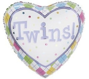Twins! Colourful Pastel Heart Shaped 46cm Mylar Balloon