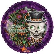 """Happy Halloween"" Skeleton Top Hat 46cm Balloon Mylar"