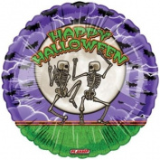 """Happy Halloween"" Skeletons Bats Moon 46cm Balloon Mylar"